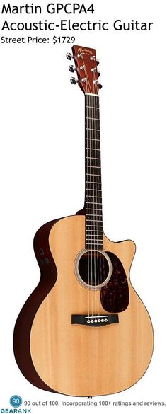 Martin GPCPA4 Acoustic-Electric Guitar. This model features a 14-fret cutaway with fast and comfortable Performing Artist profile necks, and Fishman's F1 Analog onboard electronics.  For a detailed Guide to Acoustic Guitars see https://www.gearank.com/guides/acoustic-guitars