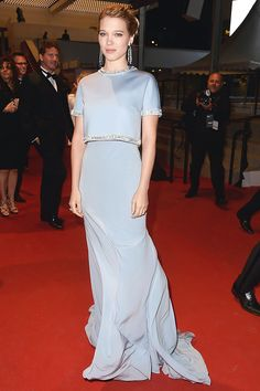 """Léa Seydoux in Miu Miu and Chopard jewels attends the Premiere of """"The Lobster"""" during the 68th annual Cannes Film Festival #Cannes2015 #MiuMiuCelebs"""