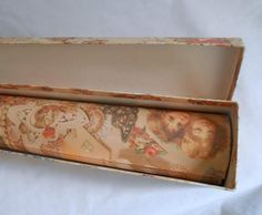 Here are 11 sheets of gift wrap that measure 24 x 18 inches each, rolled up inside the matching box. Each sheet is the same Victorian print on a warm pinky beige background with lots of Victorian images placed close toget...