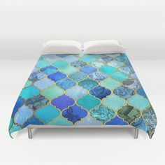 Cobalt Blue, Aqua & Gold Decorative Moroccan Tile Pattern Duvet Cover by Micklyn - $99.00