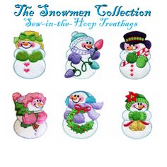 Snowmen Sew-in-the-Hoop Treatbags Embroidery Designs Collection   Golden Needles  Aren't these too cute? they make small treat bags!