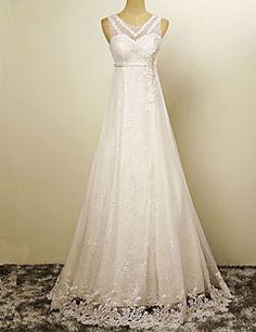 Trapèze Robe de Mariage  Longueur Sol Bijoux Satin avec Appliques / Perle