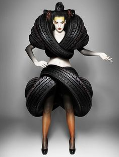 Mierswa & Kluska - Fashion Photography - Recycled Dresses - Rubbish - Rubber Tyres