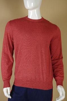 $795 Loro Piana Red Cashmere Silk Crewneck Sweater sz 54  XL New Authentic Mens #LoroPiana #Crewneck