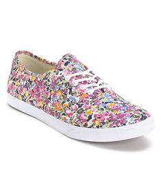 #Vans Girls Authentic Lo Pro Violet & White Floral Print Shoe at Zumiez
