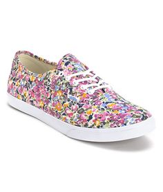#Vans Girls Authentic Lo Pro Violet & White Floral Print Shoe at Zumiez