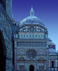 Piazza del Duomo in late evening, Bergamo, Italy