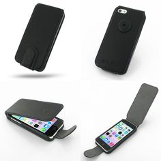 PDair Ultra Thin Leather Case for Apple iPhone 5c - Flip Type (Black/Purple Stitchings)