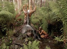 In the forest near Marysville km from Melbourne, Australia) The work of sculptor Bruno Torfs. Bruno's Art & Sculpture Garden is opened to the public. Art Sculpture, Outdoor Sculpture, Garden Sculpture, Sculptures, Wooden Statues, Environmental Art, Public Art, Garden Art, Forest Garden