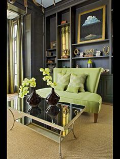 Gray Walls make this Lime Green so Handsome.