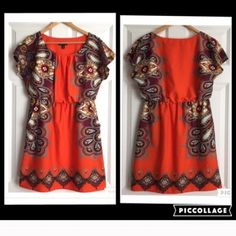 ALYX Petite Boho Orange & Black Print Dress A beautiful dress by ALYX in size 12 petite. EUC., hardly worn. Stretch waist, 100% polyester. Flutter sleeves, pockets, flattering shape and fit. Beautiful colors. Tribal/ boho chic/ indie style. There is a tiny bit of stretch to the fabric, the fabric itself is more soft than stiff. The waist is 15 inches laying flat and 18 inches stretched out, shoulder to hem is 34.5 inches, underarm to underarm is 22 inches but the style is more roomy at the…