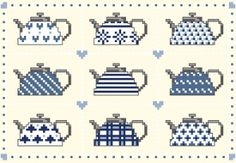 Nine teapots - 111 x 75 points - free pattern Cross Stitch Owl, Cross Stitch Kitchen, Cross Stitch Flowers, Cross Stitch Designs, Cross Stitching, Cross Stitch Embroidery, Cross Stitch Patterns, Sewing Crafts, Sewing Projects