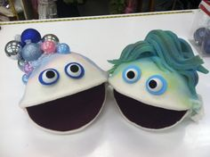 Finished puppet heads of Sea Foam (now Foamy) and Bubbles.