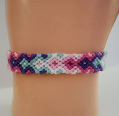 Spring Colored Arrowhead Pattern Embroidery Macrame Friendship Bracelet by BraceletsByJen