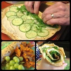 Humus and cucumber wrap with havarti, arugula, and dill on a sun-dried tomato tortilla.