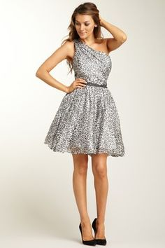 One Shoulder Print Dress with Rhinestones