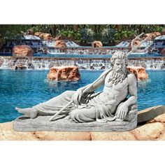 Design Toscano Neptune of St. Johns Lock River Thames Statue