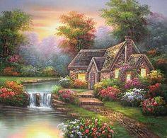 Artist unknown to me Garden Painting, House Painting, Thomas Kinkade Art, Kinkade Paintings, Snake Art, Cottage Art, Fantasy Places, Fantasy Landscape, Photo Backgrounds