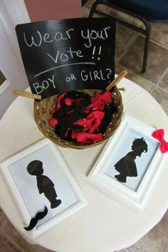 Homemakin and Decoratin: Gender Reveal Party - handmade felt mustache and bow pins