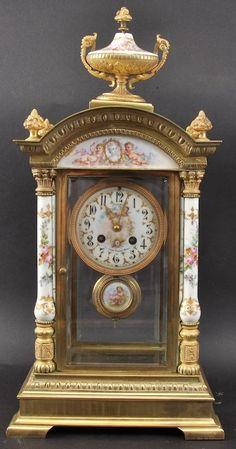 A Fine 19th Century Italian Ormolu And Porcelain Mantle Clock.