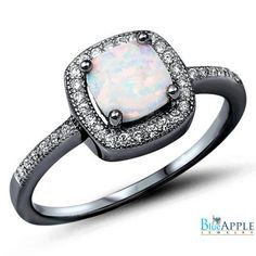 Halo Solitaire Accent Wedding Engagement Ring 1.42CT Princess Cut Lab White Opal Round Russian CZ Black Gold Over Solid 925 Sterling Silver