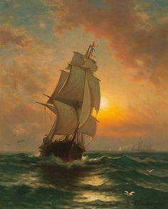 EDWARD MORAN, American (1829-1901), Full Sail at Sunset, oil