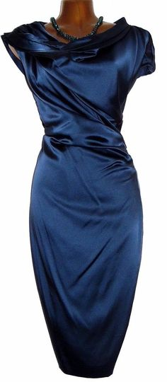 Stunning HUGO BOSS Blue Stretch Silk Ruched Wiggle Shift Dress UK 12 US 8 It 44