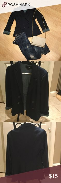 Sweater Blazer I absolutely love this sweater blazer.  It's super comfy and can be dressed up or down.  It is lined with a knit teal and navy striped fabric that shows when you fold up the sleeves.  There are built in shoulder pads for form. Forever 21 Jackets & Coats Blazers