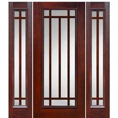 Shop for GlassCraft Full Lite 10 Lite Craftsman fiberglass cherry wood grain entry door with two sidelites. GlassCraft uses a unique technology process that authentically reproduces the natural wood grain surface into a fiberglass door skin. Front Window Design, Wooden Window Design, Home Window Grill Design, Window Glass Design, House Balcony Design, House Window Design, Walnut Doors, Wood Doors, Shutter Designs