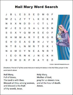 Mary Word Search Free Printable for Kids Hail Mary Word Search PrintableHail Mary Word Search Printable Catholic Catechism, Catholic Religious Education, Catholic Crafts, Catholic Kids, Catholic Prayers, Catholic School, Ccd Activities, Religion Activities, Teaching Religion