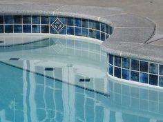 3x3 Pool tiles destiny and akron with brielle granite Waterline Pool Tile, Outside Pool, Swimming Pool Tiles, Pool Steps, Pool Remodel, Roman Pool, Pool Coping, Fiberglass Pools, Pool Decks