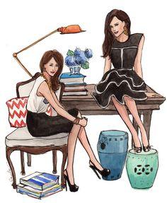 Duas designers prontas para começarem a criar - ilustração de Inslee Haynes…