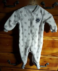 "Carters Zipper Sleeper Boys 9 Month White Football ""Daddy's All Star"" EUC  #Carters"