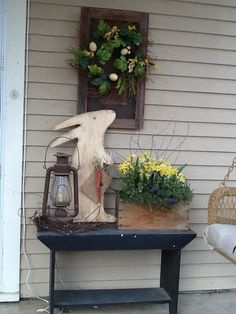 Spring porch.......  Really like that bunny! ☺