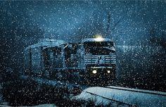 Winter Train Scene