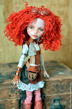 Red curly hair adventurer girl