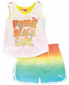 Puma Baby Girls' 2-Piece Beach Tank & Shorts Set