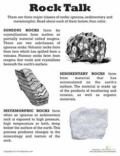 Worksheets: Classifying Rocks