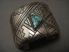 Superlative Vintage Navajo Lone Mountain Turquoise Mosaic Silver Bracelet | $1154.98