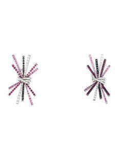 Staurino Fratelli Diamond, Ruby & Sapphire Burst Earrings