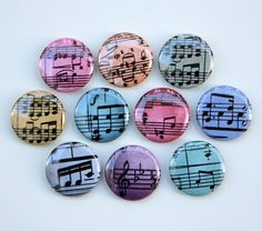 Colorful Musical Notes Set of 10 Buttons Pinbacks Badges 1 inch. $6.25, via Etsy.