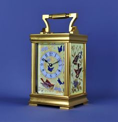REPEATING CARRIAGE CLOCK -bead decorated porcelain panels. France c.1890.