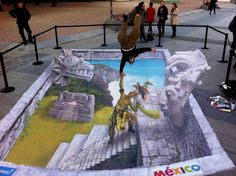 Because is not enough, street art jump ahead to find you and level up your artistic skills. Everything is about perspective with this street art Street Wall Art, Street Art Graffiti, Chalk Drawings, 3d Drawings, 3d Sidewalk Art, Pavement Art, 3d Chalk Art, Street Painting, 3d Painting