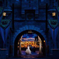 Real #Disneyland couple Chris & Carrie dancing behind Sleeping Beaty Castle. #wedding