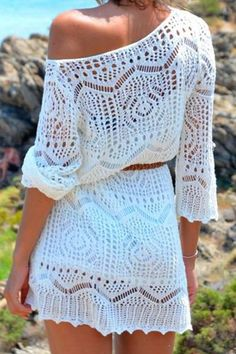 White Hollow 3/4 Sleeves Dress WHITE: Casual Dresses   ZAFUL