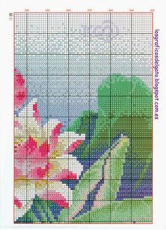 Precioso gráfico oriental de kois con flores...