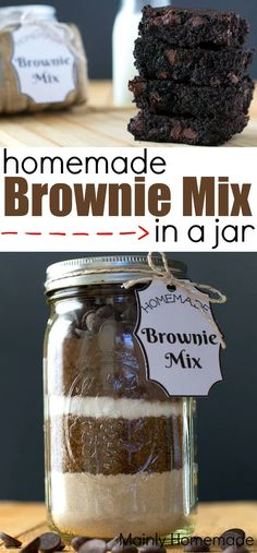 Homemade Brownie Mix, Homemade Brownies, Brownie Mix In A Jar Recipe, Brownie Recipes, Brownie Jar, Mason Jar Cookie Mix Recipe, Homemade Snickers, Brownies In A Jar, Best Brownies