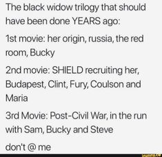 Picture memes 1 comment — iFunny - The black widow trilogy that should have been done YEARS ago: movie: her origin, russia, the re - Avengers Headcanon, Avengers Memes, Marvel Jokes, Black Widow Movie, Black Widow Marvel, Black Widow Red Room, Bucky And Natasha, Bucky And Steve, Marvel Fan