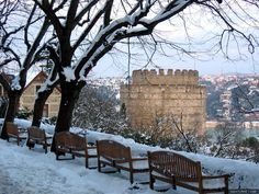 Bosphorus and castle view from Bogazici University garden/Istanbul, Turkey... Makes studying enjoyable... Like, Repin if you like, :)