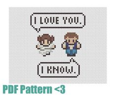 Cross Stitch Pattern and How-To Guide - I Know. - Star Wars Inspired - Valentine's Day - 4 x 5 Inches